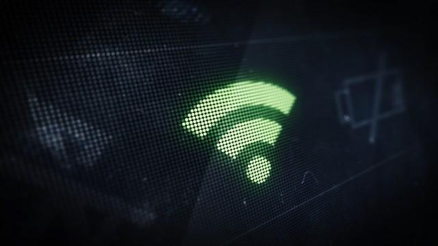 Pixel Wi-Fi Icon on Digital LED Screen