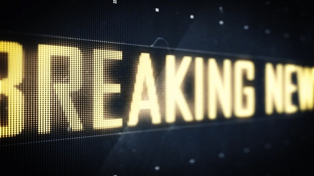 Breaking News Sign on Digital LED Screen
