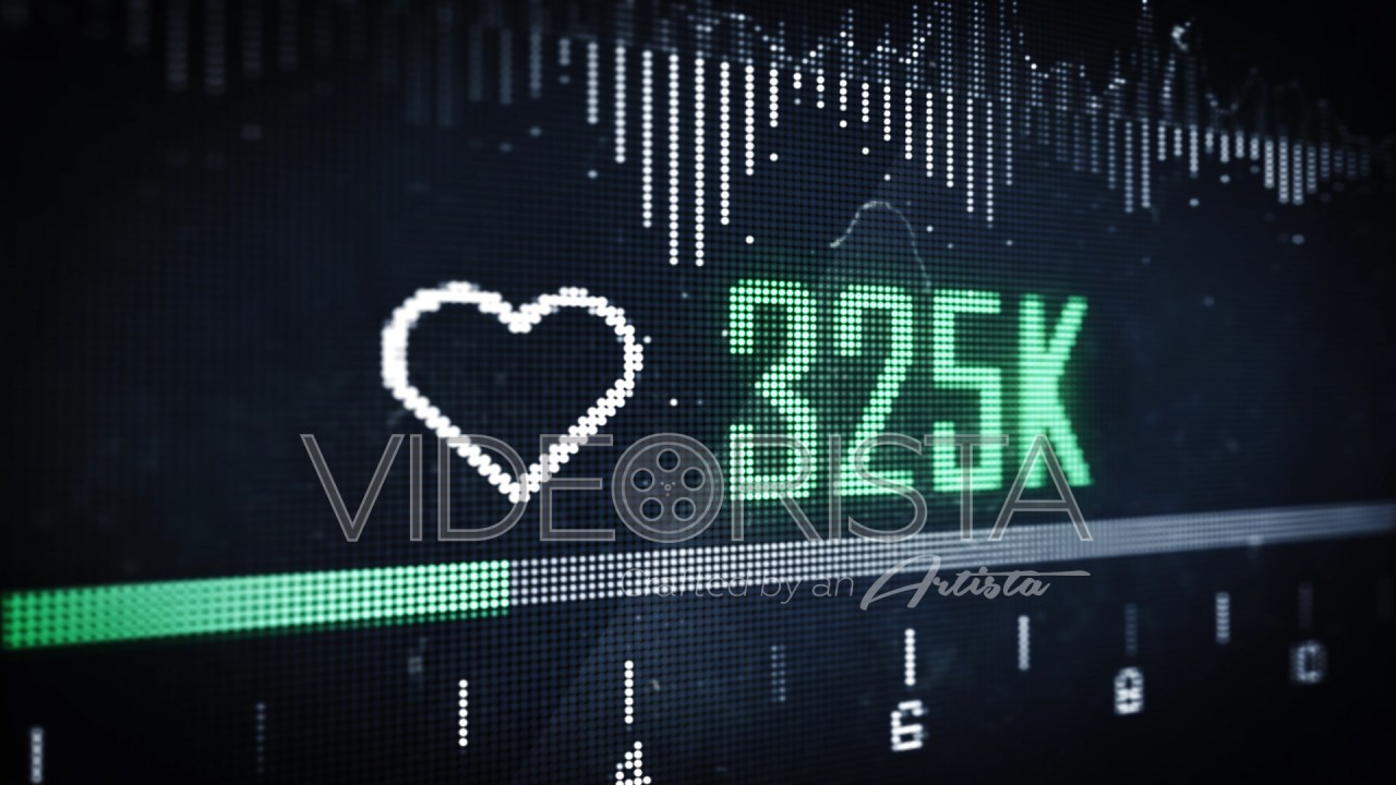 Green Animation Heart symbol with Like Counter on Digital LED Screen