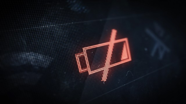 Pixel Low Battery Icon on Digital LED Screen