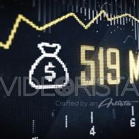 Stock market animation with money icon and profits