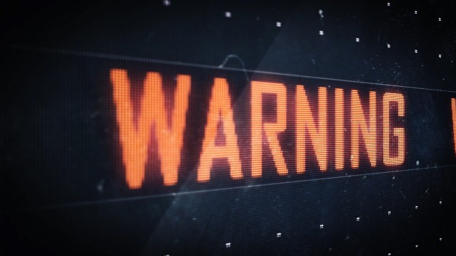 Pixel Warning Red Sign scrolling on Digital LED Screen Looping.