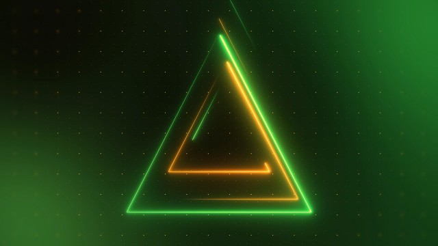Triangular Green and Yellow Neon Techno Lights Loop