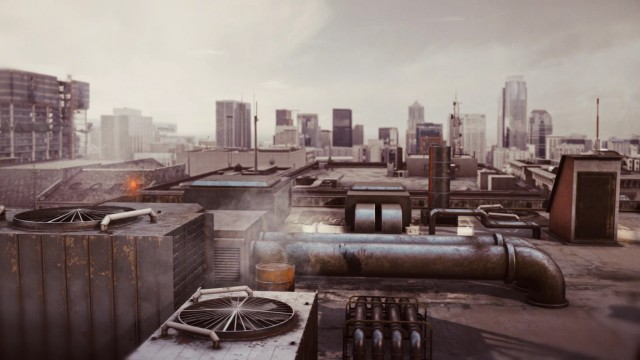 Cinematic Aerial Building Rooftop Intro with ventilation ducts and pipes.