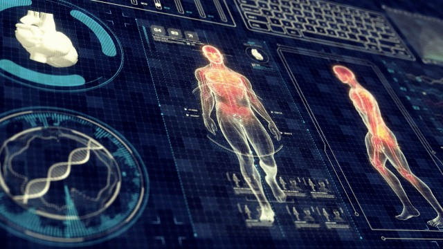 Futuristic Human Walking on Touch Screen
