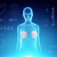 Female Mammary Gland Anatomy on Virtual Futuristic Blue Touch Interface