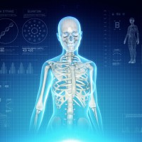 Female Skeletal System Anatomy on Virtual Futuristic Blue Touch Interface