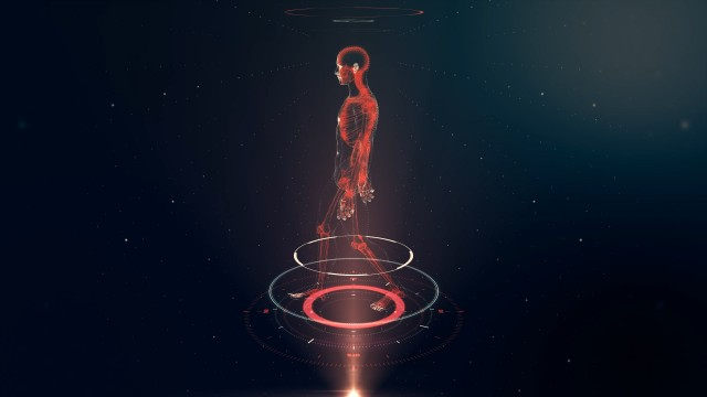 Red Walking Avatar Projection with Xray Skeleton Scan