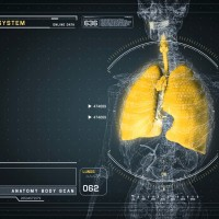 Respiratory Anatomy on Virtual Futuristic Wireframe Interface