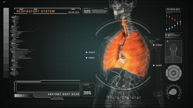 Respiratory Anatomy on Virtual Futuristic Wireframe Orange Interface