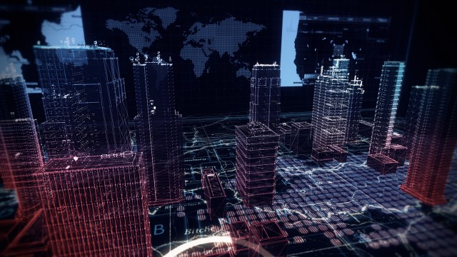 Virtual City Aerial Drone Flight on Cybernetic Space with Ultra HD Infographics